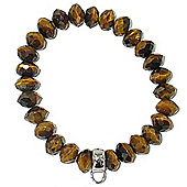 Chrysalis Tiger Eye Bead Bracelet with Silver Charm Loop