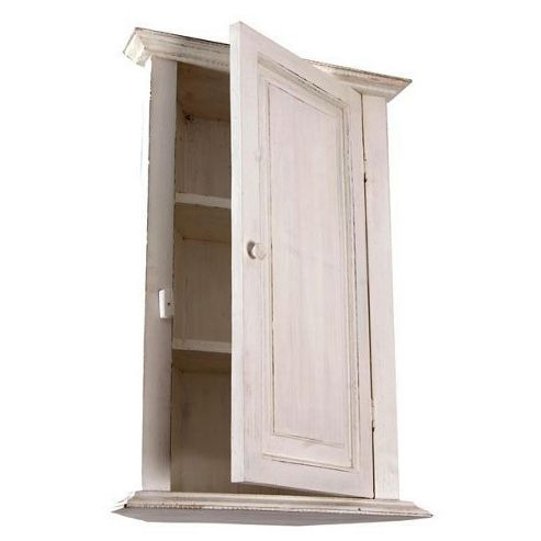 Papa Theo Corner Cabinet with Plain Door - Antique White