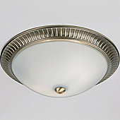 Endon Lighting Flush Ceiling Light - Antique Brass
