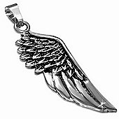 Urban Male Polished Finish Stainless Steel Silver Wing Pendant For Men