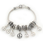 Burn Silver 'Peace' Charm Bracelet - 19cm Length