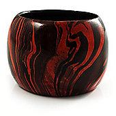 Oversized Chunky Wide Wood Bangle (Black & Orange)