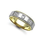 Jewelco London 18ct Yellow & White Gold 7mm 2-Piece Flat Diamond set 45pts Trilogy Wedding / Commitment Ring