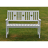 White heart bench
