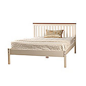 Comfy Living 4ft6 Double Slatted Low end Bed Frame in White with Caramel Bar