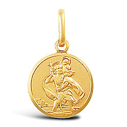 Jewelco London 9ct Solid Gold single sided light weight St Christopher Medallion pendant