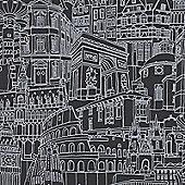Rasch Landmarks Wallpaper - Black and Silver 465914