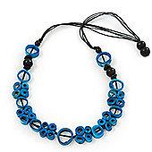 Unique Turquoise Blue Bone Bead Black Cotton Cord Necklace - 66cm Length