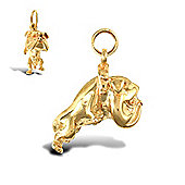 Jewelco London 9ct Solid Gold light weight casted British Bulldog Pendant