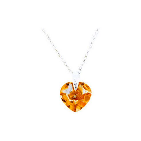 QP Jewellers 22in 0.68mm Heart Necklace with 1.15ct Citrine Pendant in 14K White Gold