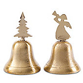 Set of Two Gold Finish Metal Christmas Tree & Angel Bell Decoration Ornaments