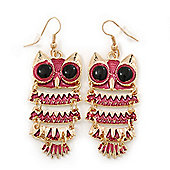 Magenta Enamel 'Owl' Drop Earrings In Gold Plating - 7cm Length