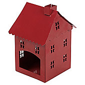 Metal House Lantern Red