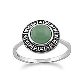Gemondo 925 Sterling Silver Art Deco 1.44ct Dyed Green Jade & Marcasite Ring