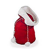 Red Felt Christmas Sack Gift Bag with Faux Fur & Rope Drawstring Detail