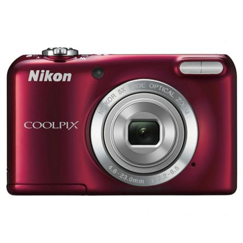 Nikon Coolpix L27 Digital Camera, Red, 16 MP, 5x Optical Zoom, 2.7 inch LCD screen