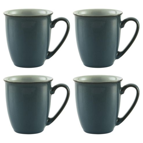 Denby Everyday Mugs, 4 Pack, Teal