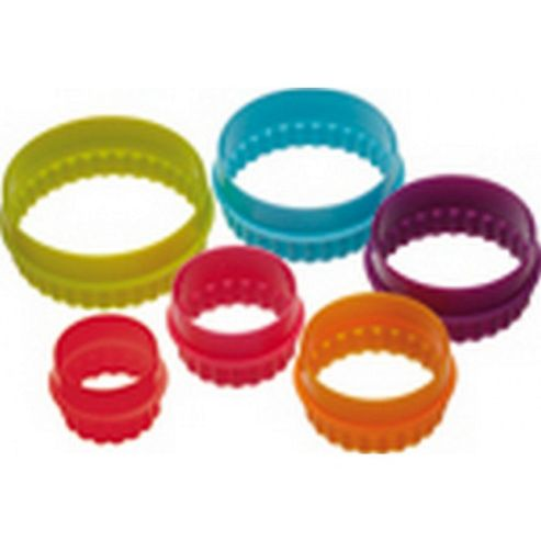 Six Piece Round Coloured Cookie Cutter Set