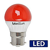 MiniSun BC B22 4W Red LED Golfball Bulb Cool White / Daylight