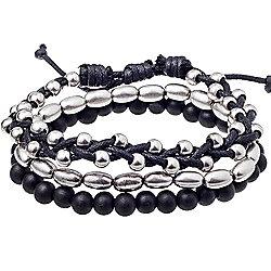 Urban Male 'Metro' Black & Silver Bead & Cord Bracelet Set for Men