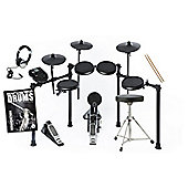 Alesis Nitro Electronic Drum Kit With Stool, Sticks, Bass Drum, Headphones And Free Backbone Tutorial Book and CD