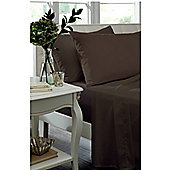 Catherine Lansfield Non Iron Percale Combed Poly-Cotton Fitted Sheets in Chocolate - Double
