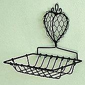 Heart - Metal Wall Mounted Soap Dish / Small Shelf - Black