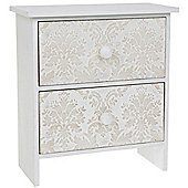 Damask - Mini Chest Of Storage Drawers - White / Grey