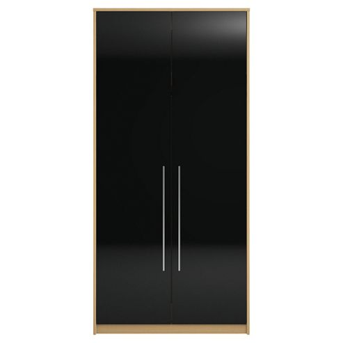 Modular Oak Double Wardrobe With Black Gloss Doors