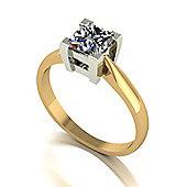 18ct Gold 5.5mm Square Brilliant Moissanite Single Stone Ring