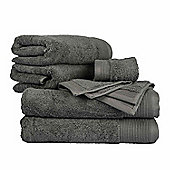 Homescapes Charcoal Cotton Supreme Luxury 6 Piece Towel Bale 700 GSM