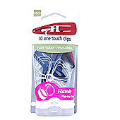 QVS Pack Of 10 One Touch Multi-Coloured Hair Clips