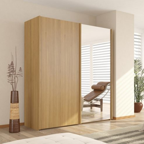 Julia 2 Door Sliding Wardrobe With One Mirrored Door Oak 150cm W