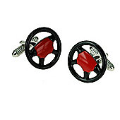 Sports Car Motor Sport Steering Wheel Novelty Themed Cufflinks