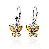 QP Jewellers 1.24ct Citrine Butterfly Earrings in 14K White Gold
