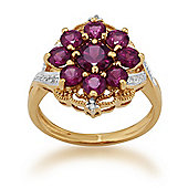 Gemondo Gold Plated Sterling Silver 2.00ct Rhodolite & 2.4pt Diamond Floral Cluster Ring