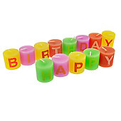 Set of Small Individual 'Happy Birthday' Celebration Candles (Pink Version)