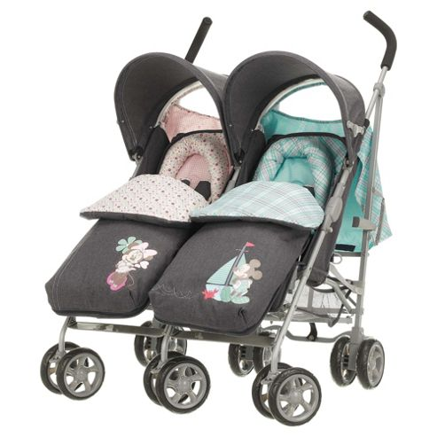 Obaby Apollo V2 Twin Stroller, Retro Minnie & Mickey Denim