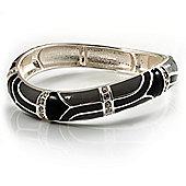 Silver Tone Curvy Enamel Crystal Hinged Bangle (Black, Grey&Beige)