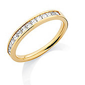 Jewelco London 18ct Yellow Gold - Diamond - 0.50ct Princess-cut Half Eternity Ring -