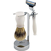 Nicholas Winter 3 Piece White / Silver Shaving Set. Mach 3 Compatible