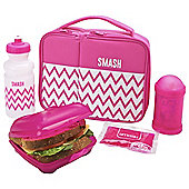 Smash 5 Piece Lunch Set, Pink Zig Zags