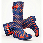 Evercreatures Ladies Multisun Wellies Navy with Orange Dots 7