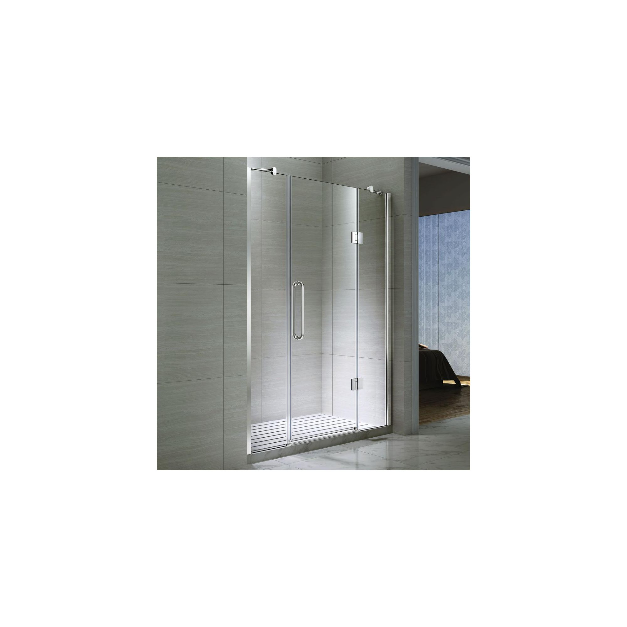 Desire Ten Double Inline Hinged Shower Door, 1400mm Wide, Semi-Frameless, 10mm Glass at Tesco Direct
