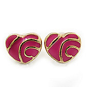 Children's/ Teen's / Kid's Tiny Deep Pink Enamel 'Heart' Stud Earrings In Gold Plating - 8mm Length