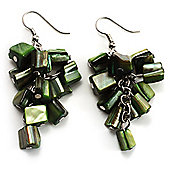 Olive Green Shell Composite Cluster Dangle Earrings (Silver Tone)