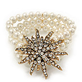 Multistrand White Glass Pearl 'Star' Flex Bracelet - up to 20cm Length