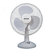 12 Desk Fan with 3 Speed Settings, Oscillating & Tilting Head in White