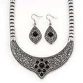 Ethnic Burn Silver Hammered, Black Ceramic Stone Necklace With T-Bar Closure & Teardrop Earrings Set - 42cm Length