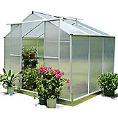 Nison EaZi-Click 6X8 Aluminium Polycarbonate Greenhouse in Silver including Base